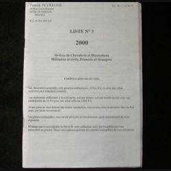 0. CATALOGUE ORDRES DE CHEVALERIE PATRICK PEYREGNE liste n°3: catalogue de 1000 ordres de Chevalerie et décorations militaires et civiles, français et étrangers, côtés