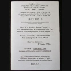 0. Liste 2005 - 09 d'insignes militaires illustrés en couleur réalisé par la SARL IML insignes militaires Lavocat : catalogue de 228 insignes couleurs côtés (C139)