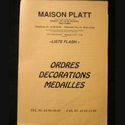 0. CATALOGUE PLATT : catalogue à prix marqués liste flash d'Ordres et de décorations du monde entier