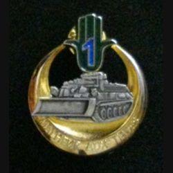 """19° RG 1° Cie : insigne de la 1° compagnie """"malheur aux tièdes"""" du 19° Régiment du Génie de fabrication Arthus Bertrand"""