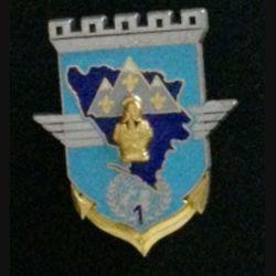 17° RGP 1° CIE FORPRONU : insigne de la 1° compagnie du 17° régiment du génie parachutiste Forpronu 1994 de fabrication Delsart