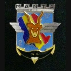 17° RGP 2° CIE MANTA TCHAD : insigne de la 2° compagnie du 17° régiment du génie parachutiste Manta Tchad de fabrication Delsart