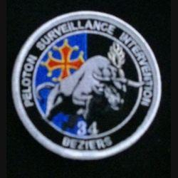 GENDARMERIE PSIG BEZIERS : insigne tissé sur fond noir et bleu du peloton de surveillance et d'intervention de la gendarmerie nationale de Béziers