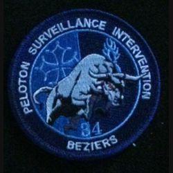 GENDARMERIE PSIG BEZIERS : insigne tissé sur fond bleu du peloton de surveillance et d'intervention de la gendarmerie nationale de Béziers