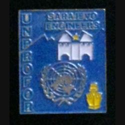 SARAJEVO ENGINEERS : insigne des ingénieurs du génie (service et travaux) en poste à Sarajevo durant les mandats de l'UNPROFOR (FORPRONU) de fabrication locale Ex-Yougoslavie