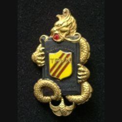 VIETNAM : insigne de la garde nationale vietnamienne TPVN viet binh doan tieu doan vo tanh, en émail, de fabrication Drago Olivier Métra infime éclat dans la boule rouge de la bouche