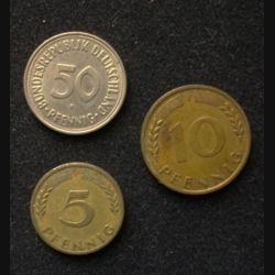 ALLEMAGNE : 3 pièces de 5, 10 et 50 Pfennig de 1950