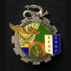 TRAIN : insigne du régiment de commandement et de soutien (RCS) de la division multinationale Sud Est (DMNSE) 8° Mandat opération SFOR de fabrication Delsart
