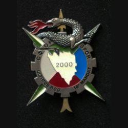 TRAIN : insigne du régiment de commandement et de soutien (RCS), 10° Mandat, opération SFOR, de fabrication Delsart numéroté 329