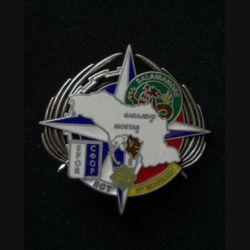 TRAIN : insigne de l'escadron de commandement et de transport  (ECT) à Mostar et Sarajevo, opération SFOR, 5° Mandat, de fabrication Delsart