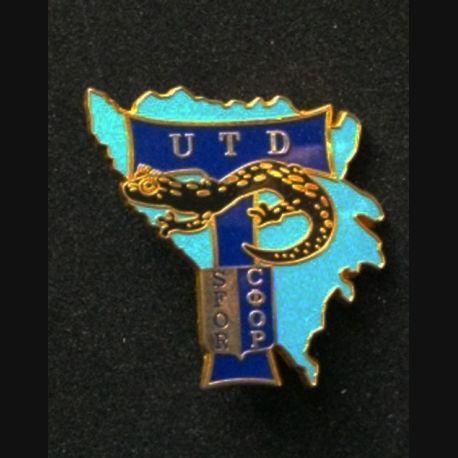 TRANS : insigne de l'unité de transmission divisionnaire (UTD), 5° mandat, de la division Salamandre de la SFOR de fabrication Balme n° 240