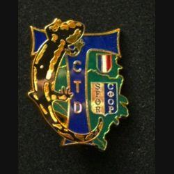 TRANS : insigne de la compagnie de transmission divisionnaire (CTD), 4° mandat, de la division Salamandre de la SFOR de fabrication Balme
