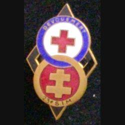 23° SIM : insigne de la 23°section d'infirmiers militaires de Toul en émail de fabrication Arthus Bertrand Paris (pastille)