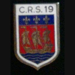 CRS 19 : insigne de la compagnie républicaine de sécurité n°19 de fabrication Drago