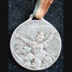 JOURNEE 1914 - 1918  :  médaille en métal embouti argenté de la journée de Paris