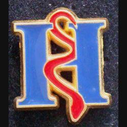 Pin's santé : pin's H ( Hôpital ?) de hauteur 2 cm de couleur rouge et bleue
