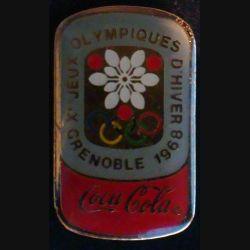 Pin's Coca Cola : pin's publicitaire de Coca Cola des jeux olympiques d'hiver de Grenoble en 1968 de fabrication Premier Taïwan