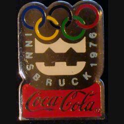 Pin's Coca Cola des jeux olympiques d'Innsbruck en 1976 de fabrication Premier Taïwan