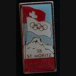 Pin's Coca Cola des jeux olympiques de St Moritz en 1928 de fabrication Premier Taïwan
