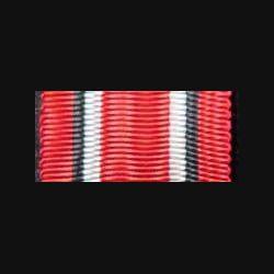 INCONNU : Ce ruban est de couleur rouge avec deux bandes noir et blanc