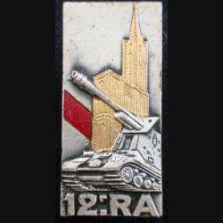 12° RA : insigne métallique du 12° régiment d'artillerie de fabrication Drago G. 1921