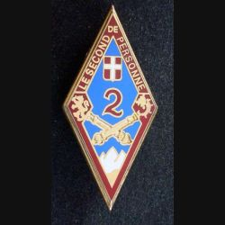2° RA : insigne métallique du 2° régiment d'artillerie de fabrication Boussemart