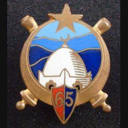 65° RA : insigne métallique du 65° régiment d'artillerie fabriqué par Drago Béranger en émail