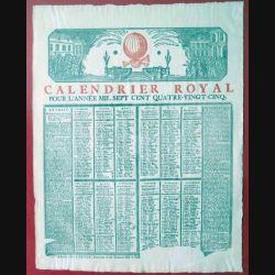 ANTIQUITES : parchemin du calendrier royal de 1785 encadré