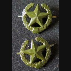 RUSSIE : insigne métallique de col des troupes de l'armée terrestre diamètre 2 cm vendus par paire