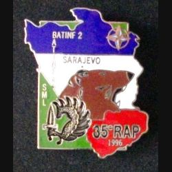 35° RAP : insigne métallique de la section de mortiers lourds du 35° régiment d'artillerie parachutiste à Sarajevo BATINF 2 en 1996 de fabrication Ségalen en émail