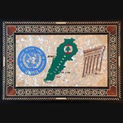 Plaque souvenir sur bois de l'ONU au LIBAN UNIFIL