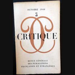 1. Critique n°5 Revue générale des publications françaises et étrangères Octobre 1946