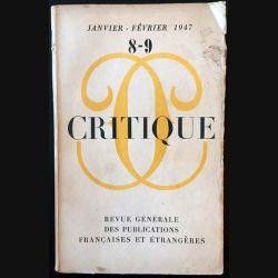 1. Critique n°8-9 Revue générale des publications françaises et étrangères Janvier-Février 1947