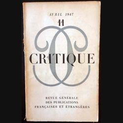 1. Critique n°11 Revue générale des publications françaises et étrangères Avril 1947
