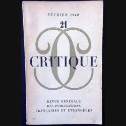 1. Critique n°21 Revue générale des publications françaises et étrangères Février 1948