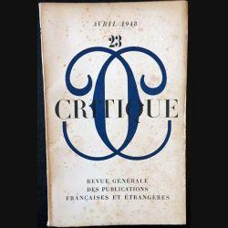 1. Critique n°23 Revue générale des publications françaises et étrangères Avril 1948