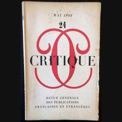 1. Critique n°24 Revue générale des publications françaises et étrangères Mai 1948