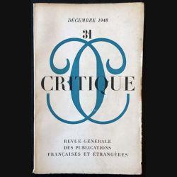 1. Critique n°31 Revue générale des publications françaises et étrangères Décembre 1948