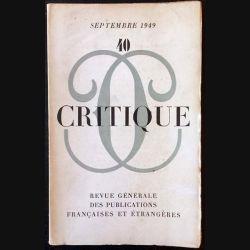 1. Critique n°40 Revue générale des publications françaises et étrangères Septembre 1949
