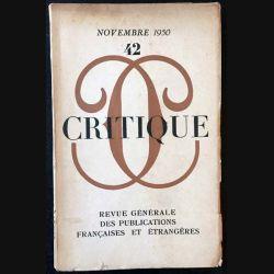 1. Critique n°42 Revue générale des publications françaises et étrangères Novembre 1950
