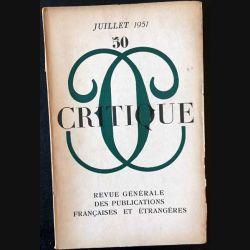 1. Critique n°50 Revue générale des publications françaises et étrangères Juillet 1951