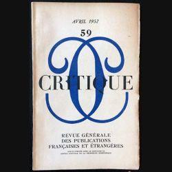 1. Critique n°59 Revue générale des publications françaises et étrangères Avril 1952