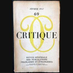 1. Critique n°69 Revue générale des publications françaises et étrangères Février 1953