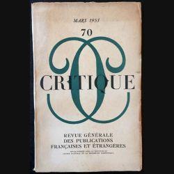 1. Critique n°70 Revue générale des publications françaises et étrangères Mars 1953