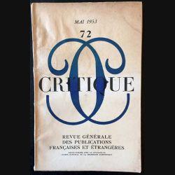 1. Critique n°72 Revue générale des publications françaises et étrangères Mai 1953