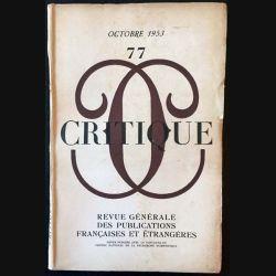1. Critique n°77 Revue générale des publications françaises et étrangères Octobre 1953