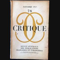 1. Critique n°78 Revue générale des publications françaises et étrangères Novembre 1953