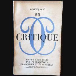 1. Critique n°80 Revue générale des publications françaises et étrangères Janvier 1954