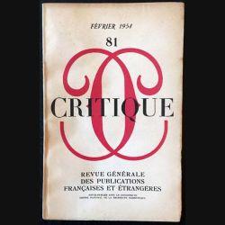 1. Critique n°81 Revue générale des publications françaises et étrangères Février 1954
