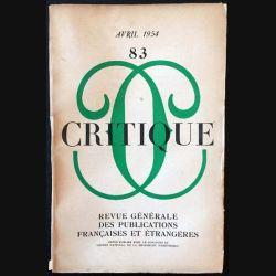 1. Critique n°83 Revue générale des publications françaises et étrangères Avril 1954